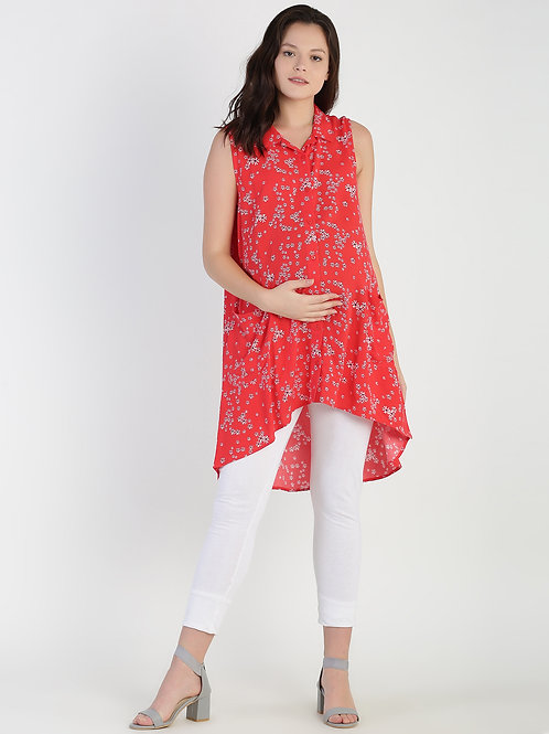 Dipped Hem Tunic, Color Red