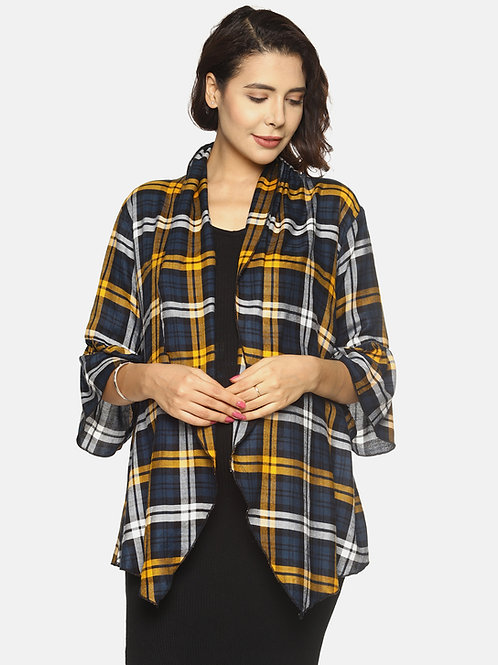 Fashionable Checked Shrug