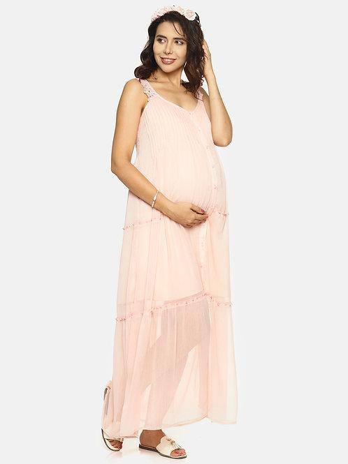 Crinkle Chiffon Long Maxi Dress