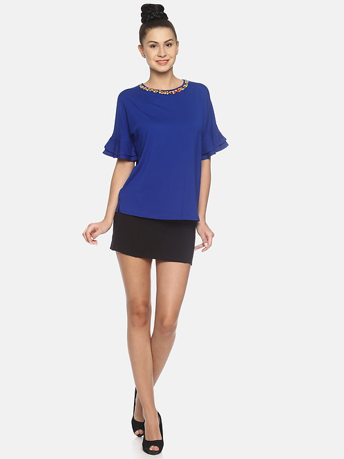 Double Frill Top - Royal Blue