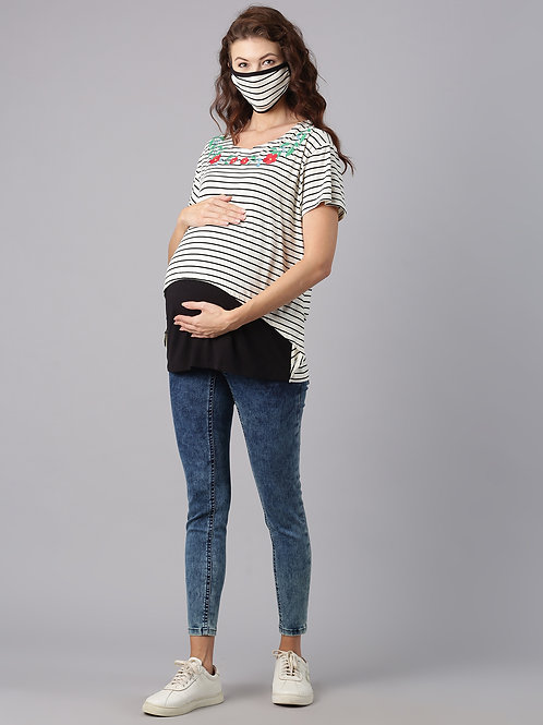 Maternity Nursing Top, Black & White (includes Matching Mask)