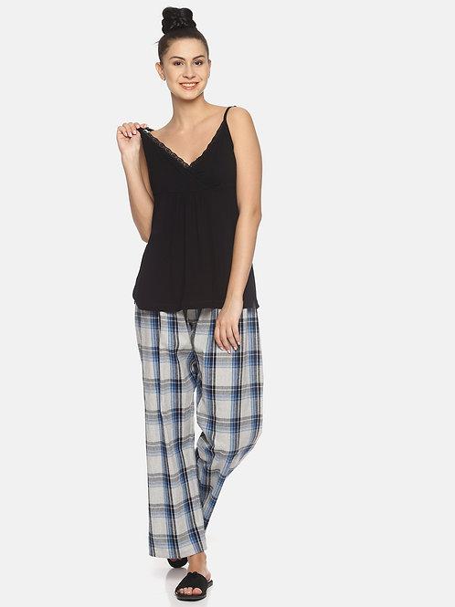 Brushed Checked Pyjama - Grey