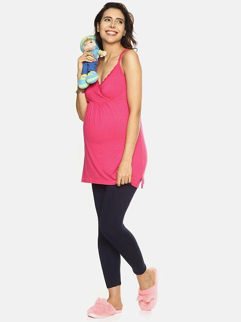 Cami Nursing Long Vest - Pink
