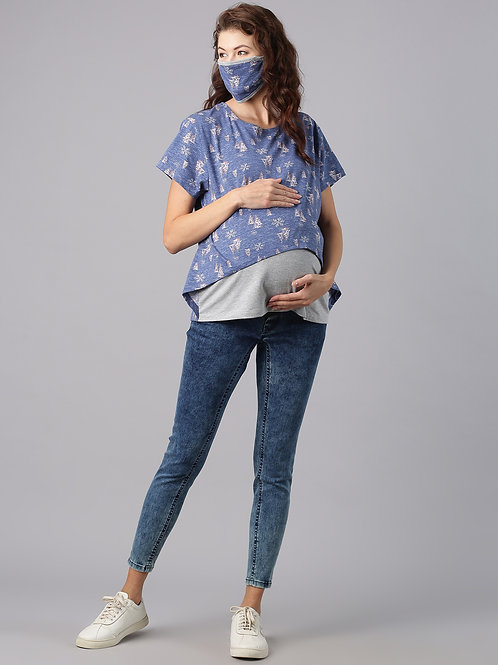 Maternity Nursing Top, Color Blue (includes Matching Mask)
