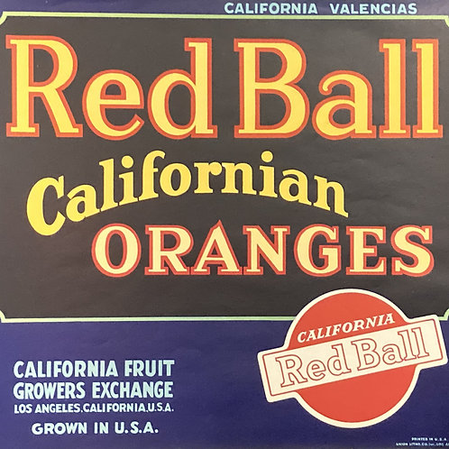 Red Ball Oranges Crate Label, California Fruit Growers Exchange