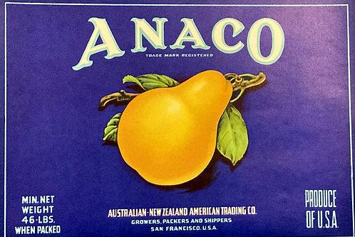 Anaco Crate Label - Australian New Zealand American Trading Co.