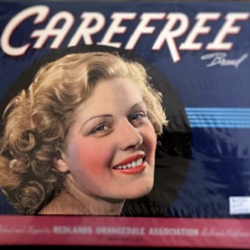 Carefree Brand Crate Label from Redlands Orangedale Association