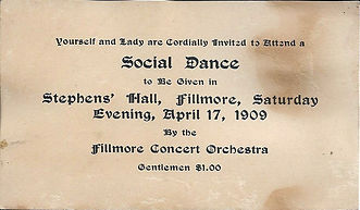 Ticket to dance at Stephens' Hall.JPG