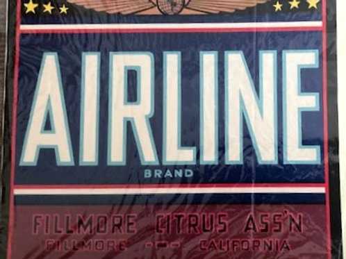 Airline Brand Crate Label from Fillmore Citrus Association