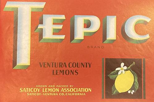 Tepic Crate Label, Saticoy Lemon Association