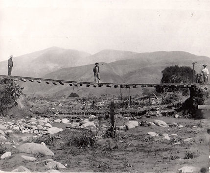 1914 remains of Sespe Railroad Bridge ap