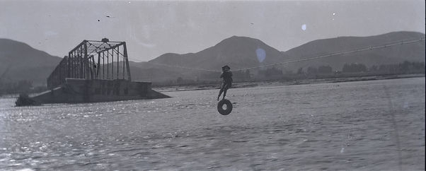 1938 crossing Santa Clara River in a bos