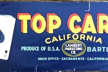 Top Card Brand Bartlett Pear Crate Label from Lambert Marketing, Sacramento