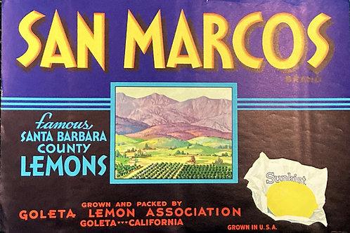 San Marcos Crate Label Goleta Lemon Association