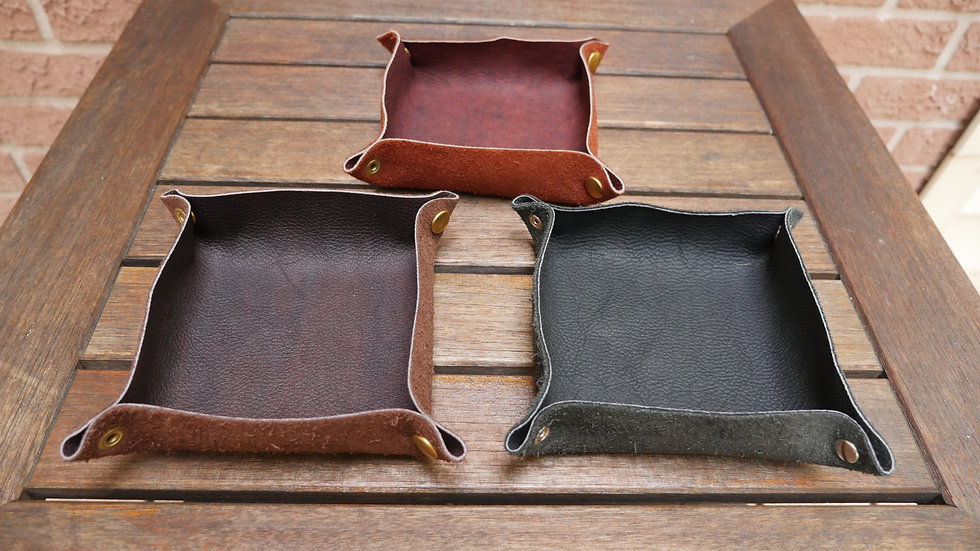 Travel Leather Valet Tray