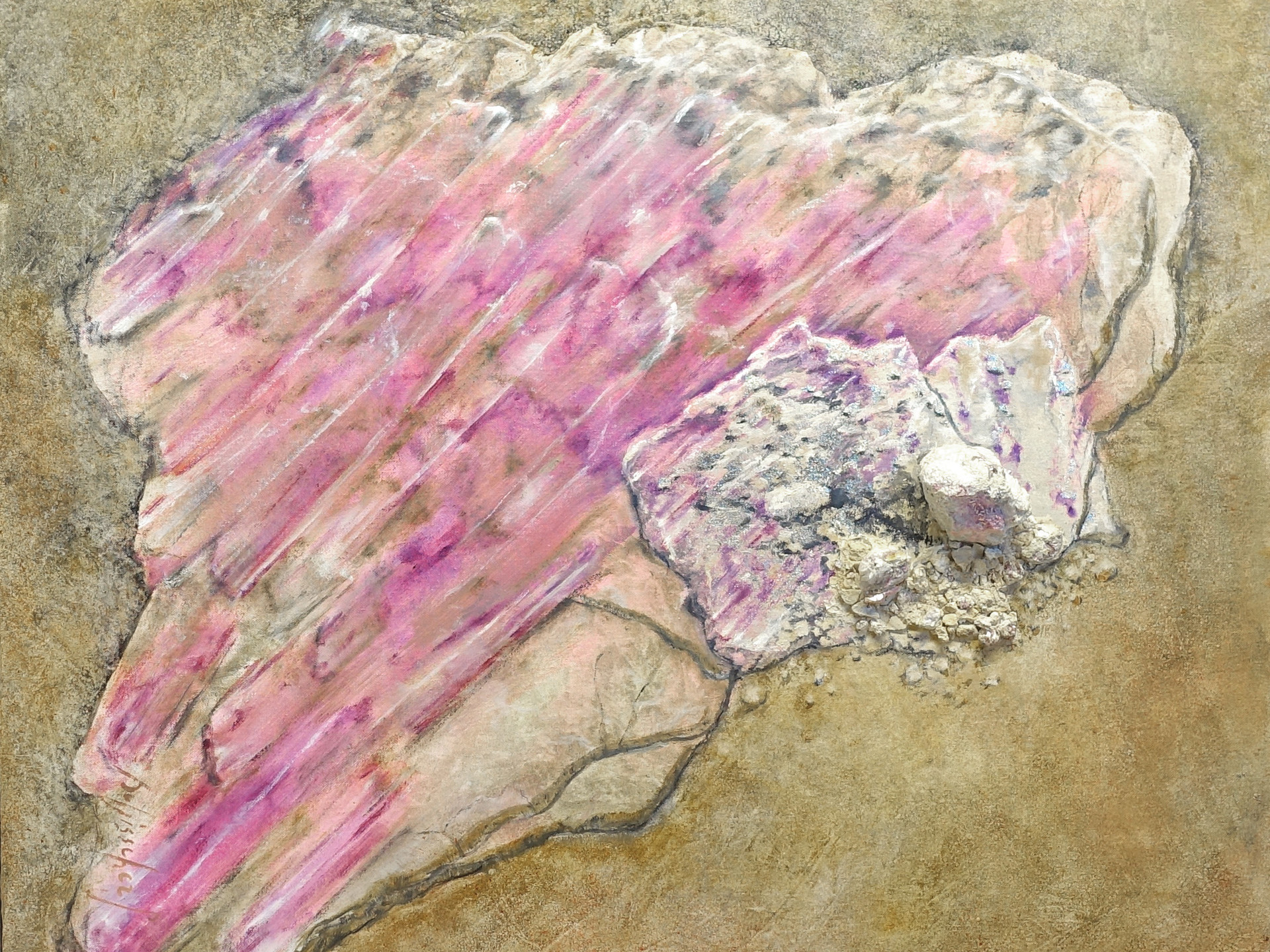 Rubellite tourmaline 80x80 cm (mineral-silver leaf- oilpainting - mixed medsa)