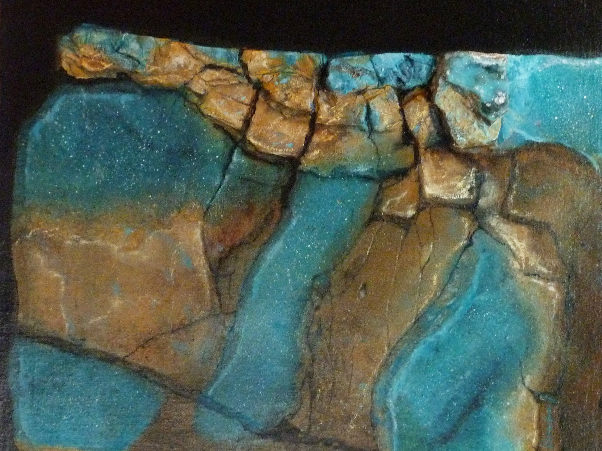 Broken emerald 60x60 cm  (mineral - oilpainting - mixed media)