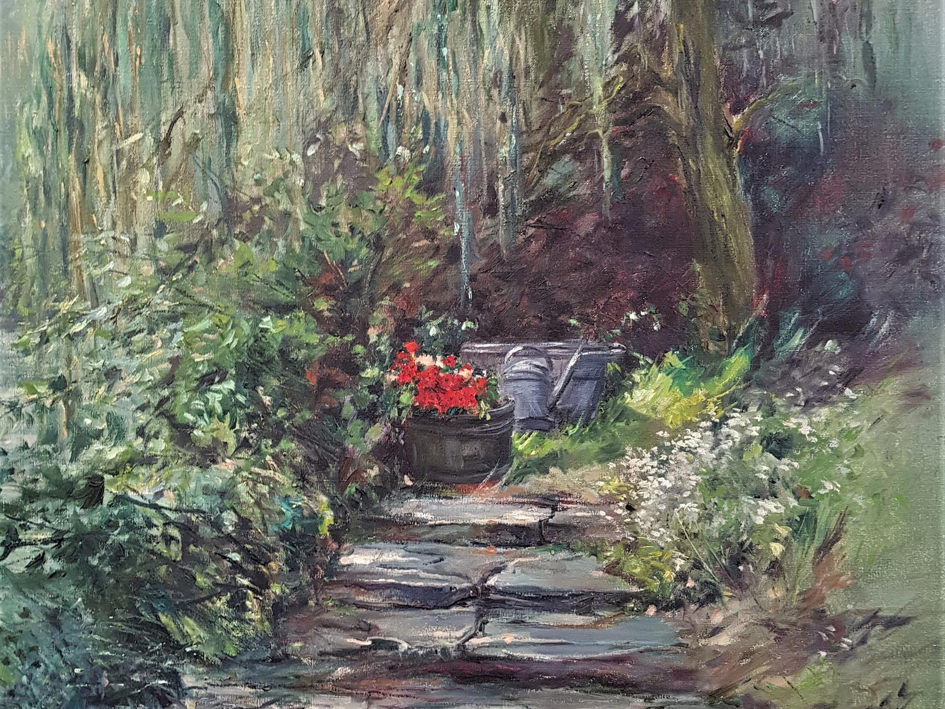 Tikkeltje rood in tuin d'Ost 80x100cm