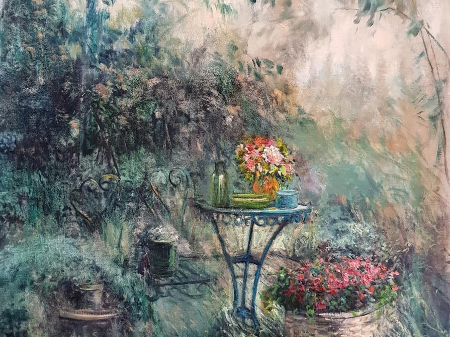 Avondsfeer in tuin d'Ost 80x100cm