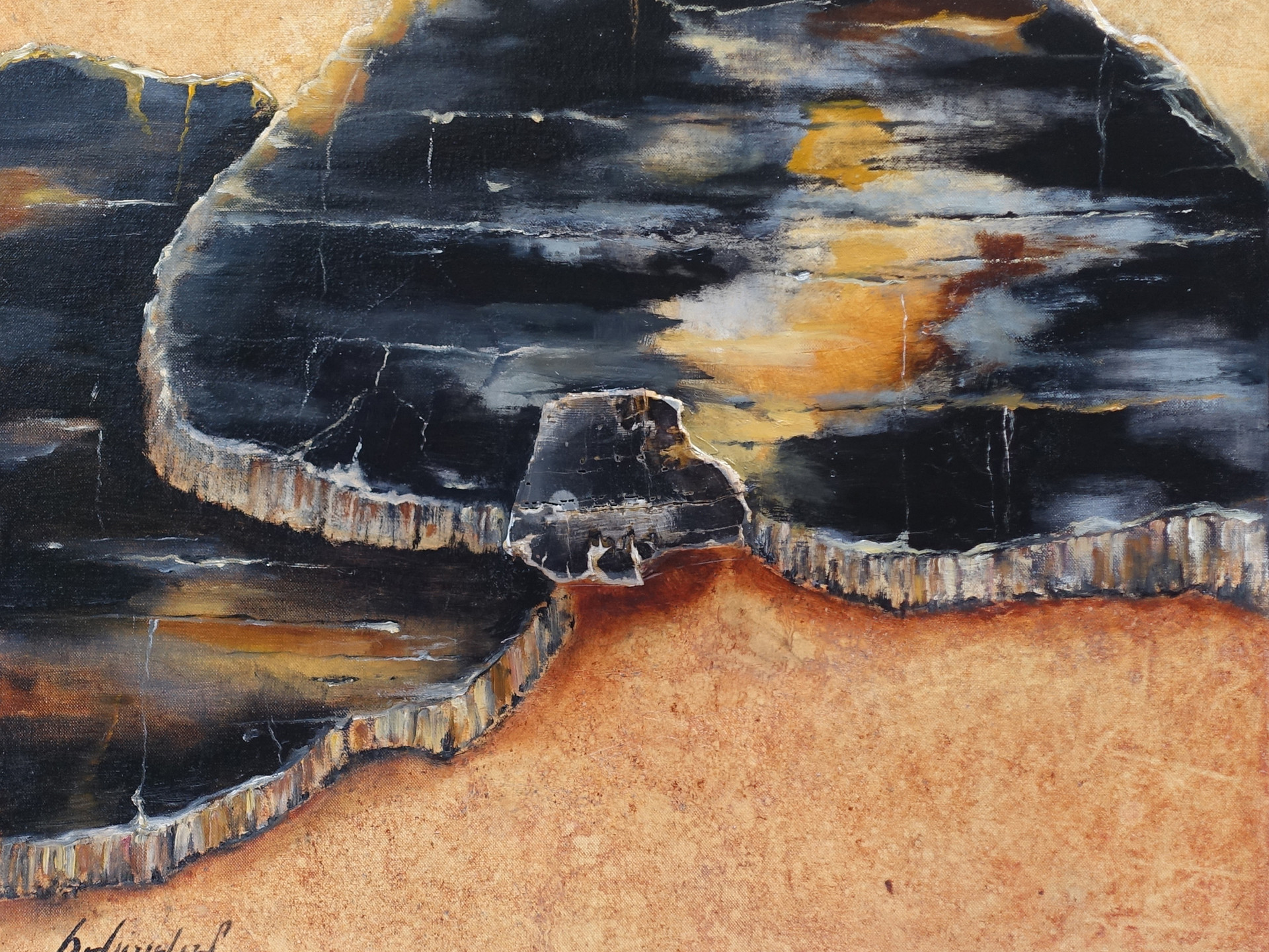 Spirit of the planet PETRIFIED WOOD 60x60 cm (mineral - oilpainting - mixed media)
