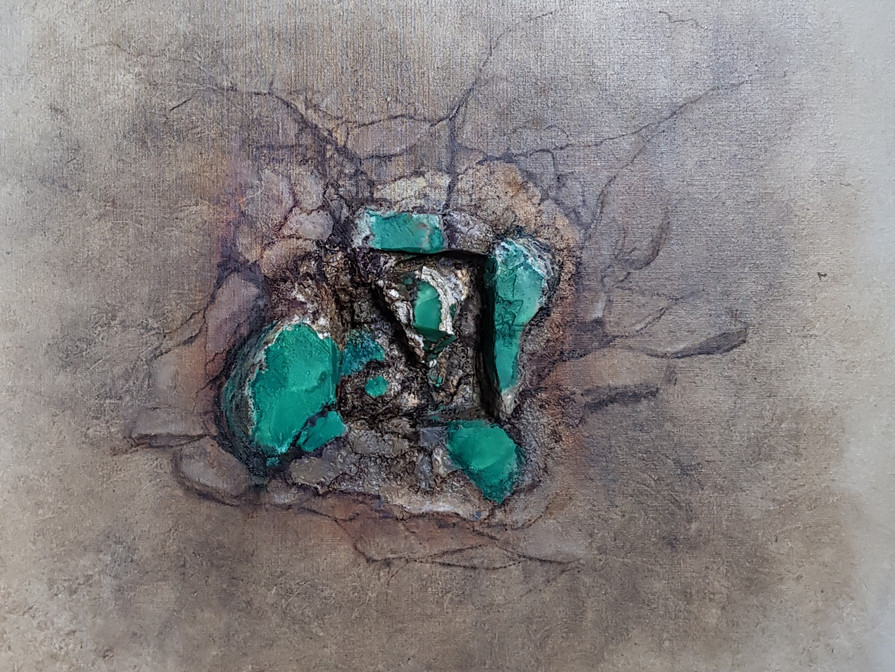 CHRYSOPRASE  80x80 cm  (mineral - oilpainting - mixed media)