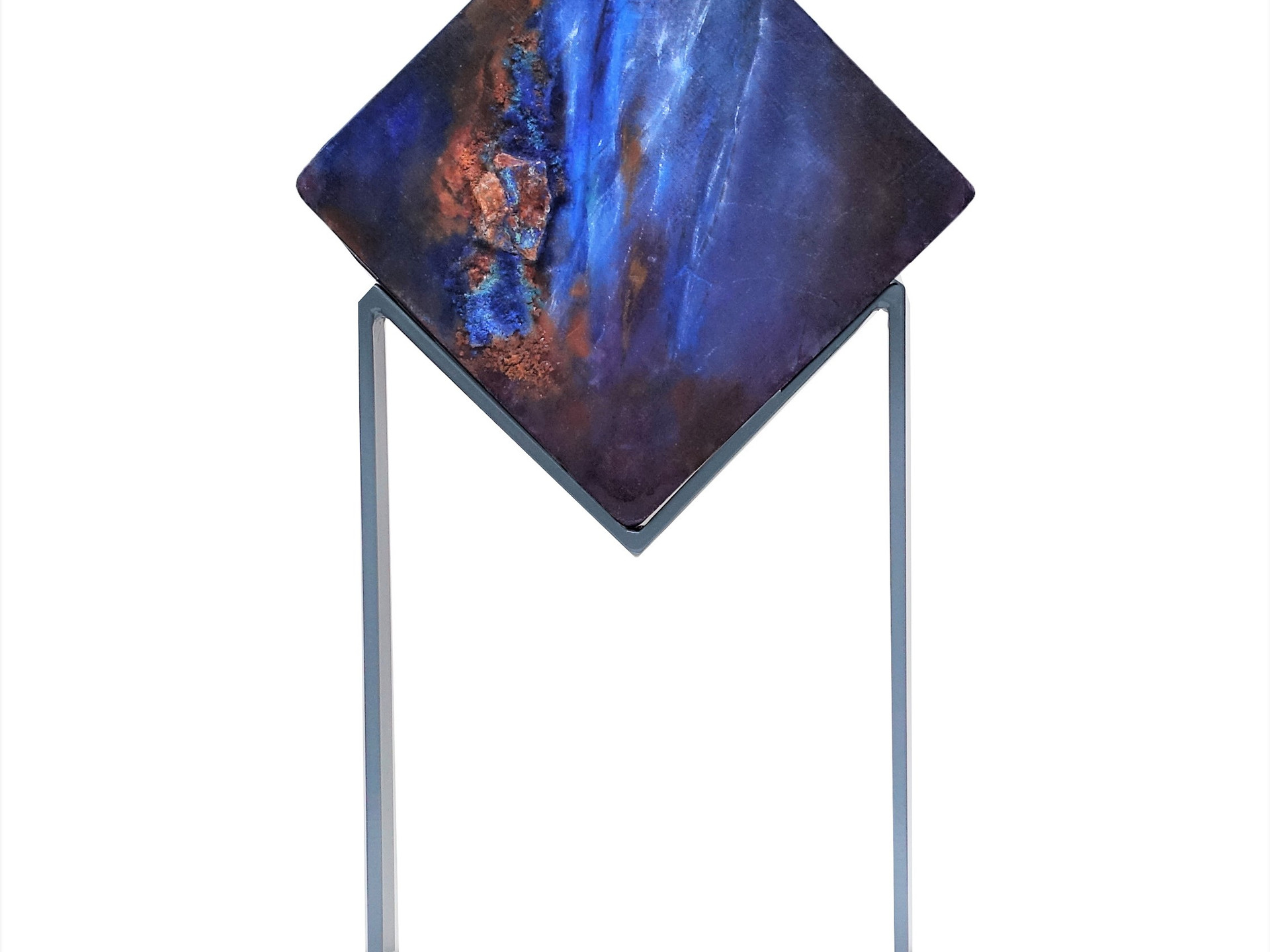 Out of darkness AZURITE  h.63 cm (canvas mounted and painted on panel on both sides - mineral - oilpainting -mixed media- metal support ))