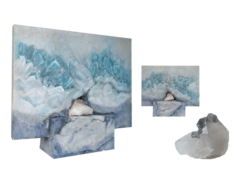 CELESTITE (canvas mounted and painted on panel on both sides - mineral - oilpainting -mixed media)