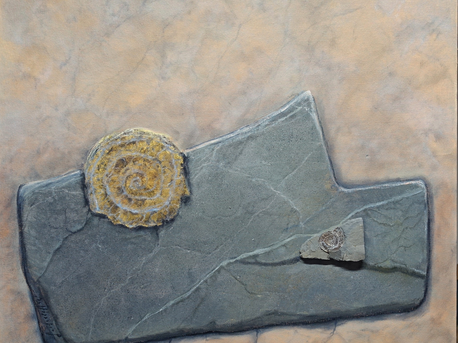 AMMONITE IRIDESCENT 80x80 cm (mineral - gold leaf - oilpainting - mixed media)
