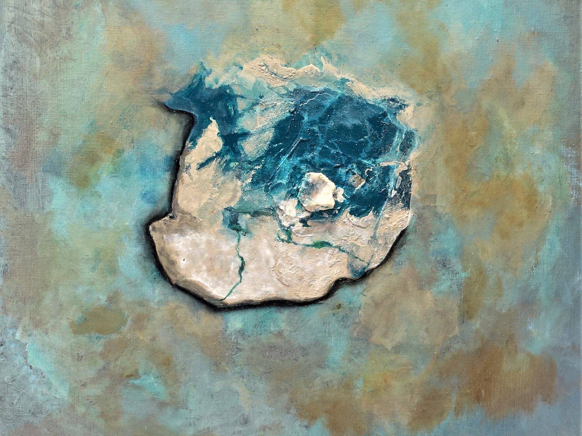 Green world DIOPTASE 80x80 cm (mineral - oilpainting - mixed media)