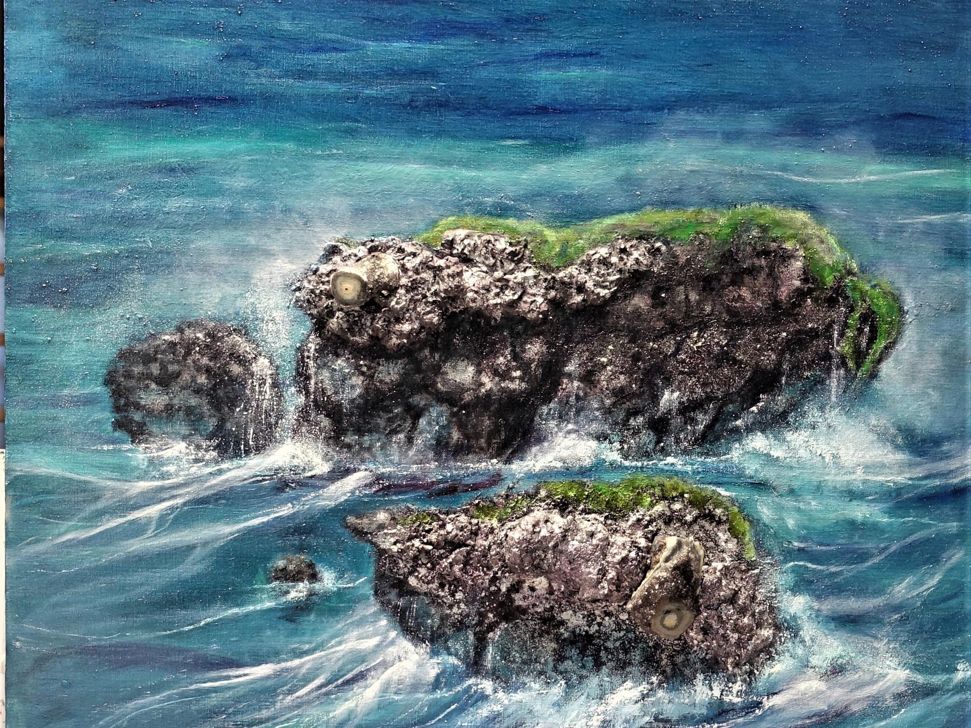 Ojos del mar  OJOS DE STALACTITO 90x90 cm (2 mineralS - oilpainting - mixed media)
