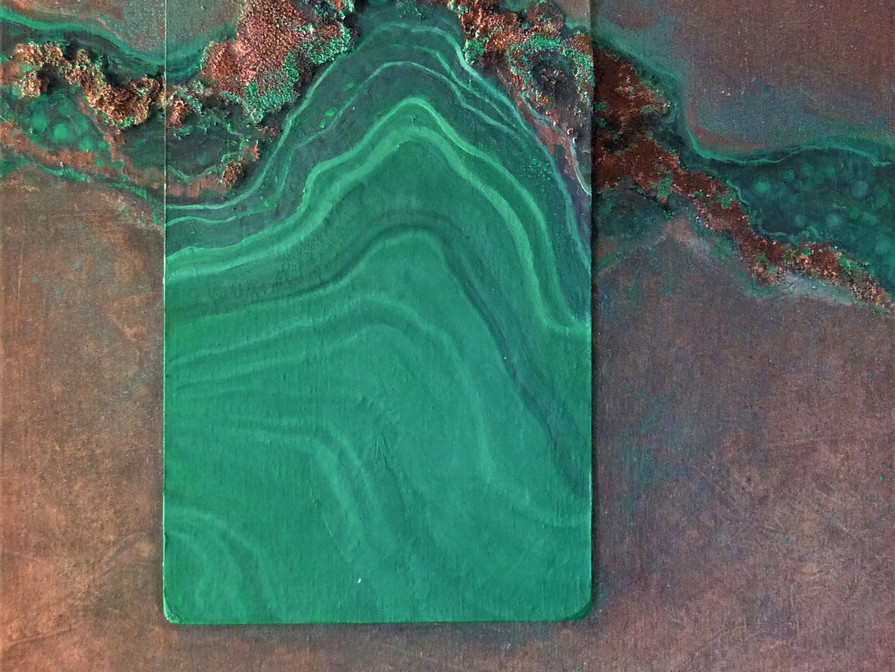 Reine du Shaba (1) MALACHITE100x60 cm (mineral - oilpainting - mixed media)