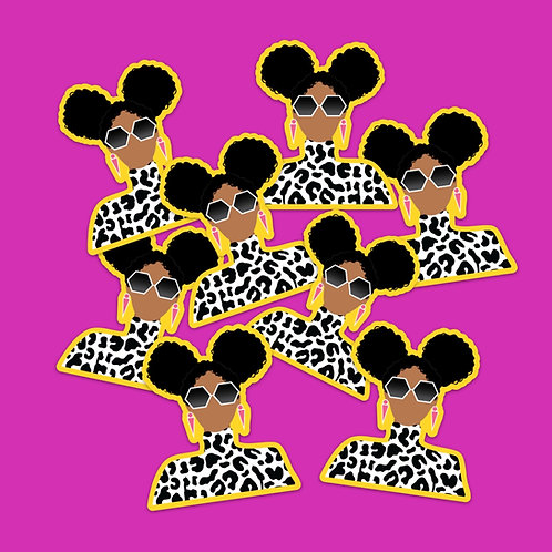 Cheetah Curl Sticker