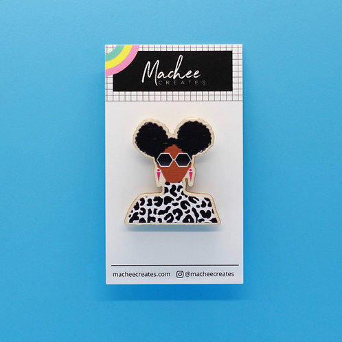 Cheetah Curl  Wooden Pin