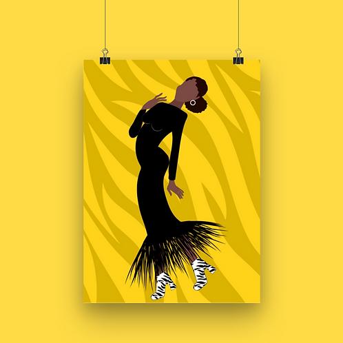 Zebra Yellow Art Print