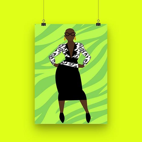 Zebra Lime Art Print