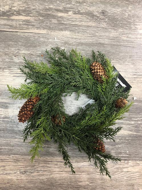Mini Cedar Christmas Wreath Candle Ring