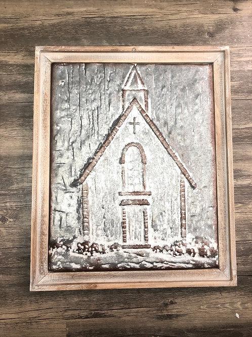 Wood framed metal church art