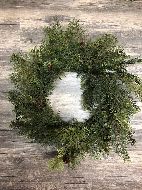 Cypress Christmas Wreath w Pinecones