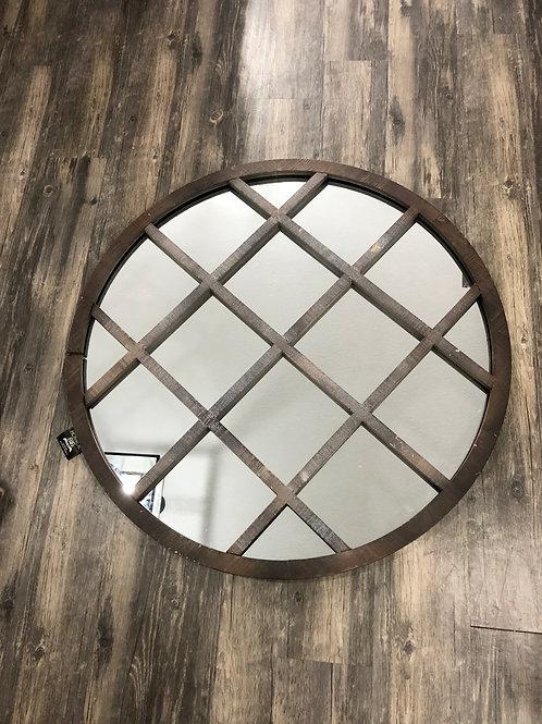 Round Wood Grid Mirror