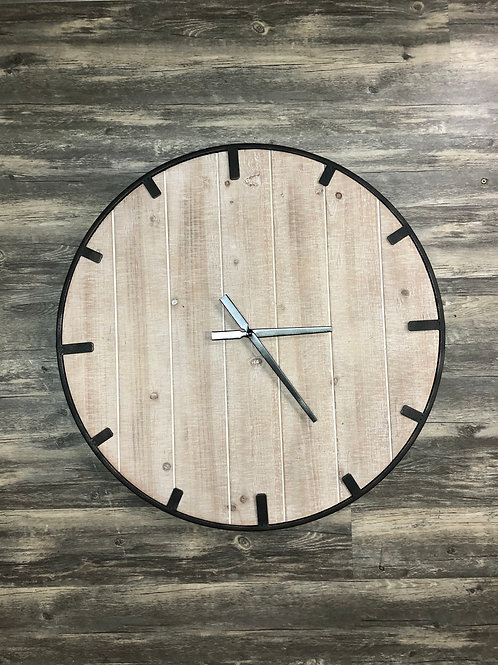 Wood and Metal Round Wall Clock