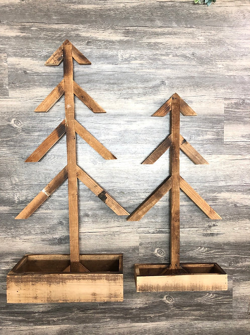 Reclaimed Wood Rustic Tree with Wood Tray