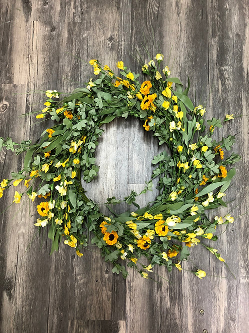 Yellow Wildflower Wreath