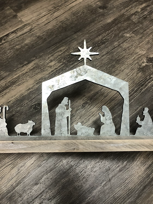 Metal and Wood Nativity Scene Shelf Sitter