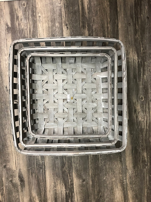 Weathered Grey Square Tobacco Baskets