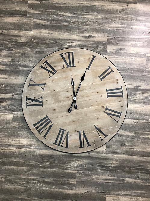 Wood and Metal Oversized Wall Clock