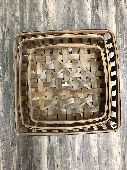 Wood Square Tobacco Basket