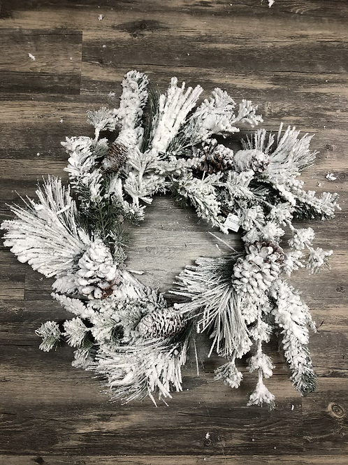 Snowy Mixed Pine Christmas Wreath