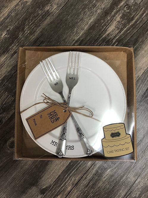 Wedding Day Cake Plate/Fork set