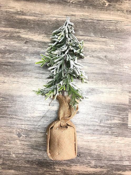 Downswept Snowy Christmas Tree in burlap