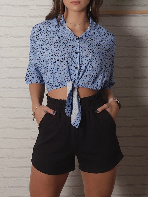 Camisa Cropped Mariah - Azul